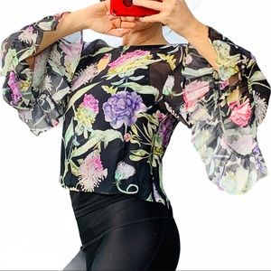 H&M Transparent Floral Wide Bell Flare Sleeve Top
